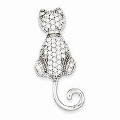 Sterling Silver Cz Cat Pin, Best Quality Free Gift Box Satisfaction Guaranteed *** See this great product @…