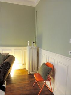 Walls in Vert de Terre and chair in Charlotte's Locks from Farrow and Ball