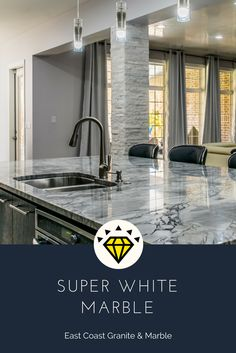 East Coast Granite & Marble – Leading fabricator and installer of granite, marble and quartz countertops in Columbia, SC. Stone Countertops, Kitchen Countertops, Granite, Free Kitchen Design, White Marble Kitchen, Engineered Stone, Kitchen Gallery, Super White, New Kitchen