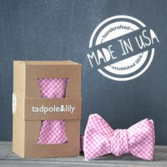Tadpole & Lily's pink gingham bowtie. Cuteness overload.