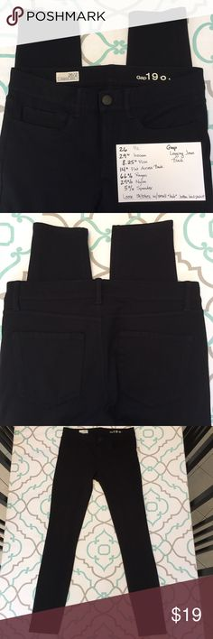 """Gap Skinny Black Legging Jean Jegging 26 1/2 GUC Gap Skinny Legging Jegging jeans. Black. Size 26 (1/2). Loose stitches on back pocket created little """"hole"""" between pocket and pants fabric!!!! Not very noticeable. Otherwise good condition.                                                                                     Bundle for discount and to save on shipping. Accepting reasonable offers. Can do custom bundle as well. Ask me any questions! GAP Jeans Skinny"""