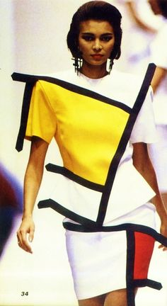 Mondrian-style design by Yves Saint Laurent, 1988.  Repinned by www.fashion.net