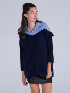 Buy Blue Color Block Long Sleeve Wool Mix Oversized Dress from abaday.com, FREE shipping Worldwide - Fashion Clothing, Latest Street Fashion At Abaday.com