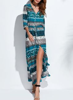 8a10d6d00b9 Floral V-Neckline Long Sleeve Maxi A-line Dress Long Sleeve Maxi