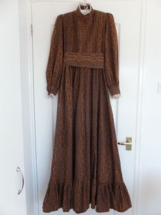 Vintage Early Laura Ashley 70's brown print long sleeved maxi dress size 10   eBay