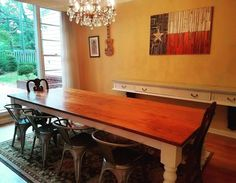 James James: L x W Baluster Table with a jointed top stained Early American with an Ivory painted base! Pictured with Woodworx Workshop's Texas State Flag. Table, Baluster Table, Furniture Inspiration, Natural Wood Furniture, Dining Furniture, Custom Table, Wood Furniture, Furniture, Rustic Solid Wood Dining Table