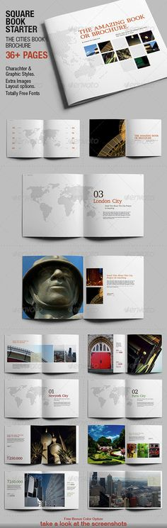 """Squarebook Starter  #GraphicRiver         SQUARE BOOK STARTER  THE CITIES BOOK \ BROCHURE  –   36+ PAGES  11.8""""x11.8"""" 30cm x 30 cm."""