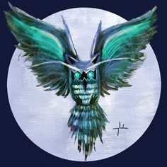My daily #art a day. Dragon Owl. An illusion and idea that looked better in my head but gave it a try. #paintings #owls