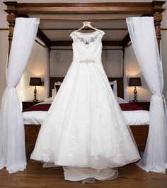 Morning bridal preparation at West Tower Country House Hotel Aughton, Liverpool. Wedding Dress