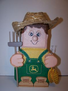 Farmer - John Deere Painted Bricks Crafts, Brick Crafts, Painted Pavers, Stone Crafts, Cement Pavers, Garden Pavers, Driveway Pavers, Patio Blocks, Landscape Bricks