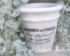 Heaven's Walk: French Flower Pots. Whitewash with thinned white paint, print reversed image (The Graphics Fairy) onto paper. Use Outdoor Mod podge (only on pot...don't do the back) printed side down onto pot. Let dry overnight and carefully rub off dampened paper. Finish as desired to seal print.