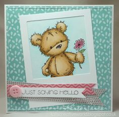 CAS design using a polaroid photo frame and fishtail banners with a LOTV James bear stamp
