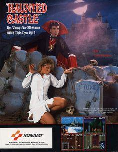 The Arcade Flyer Archive - Video Game Flyers: Haunted Castle, Konami Vintage Videos, Vintage Video Games, Classic Video Games, Retro Video Games, Video Games For Kids, Vintage Ads, Video Game Posters, Video Game Art, Retro Arcade Games