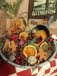 Dont put your beautiful potpourri out of sight. Display it with a beautiful bowl or vase. Primitive Christmas Decorating, Prim Christmas, Christmas Kitchen, Christmas Gingerbread, Country Christmas, Winter Christmas, Vintage Christmas, Christmas Holidays, Cowboy Christmas