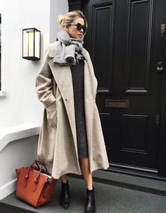 Khaki trench coat, knit dress, scarf ready for winter.