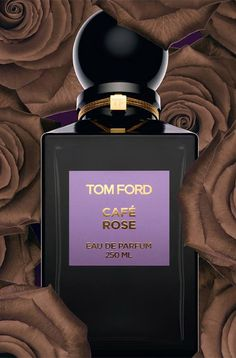 Cafe Rose, Tom Ford, top notes are saffron, black pepper, and may rose, middle notes are Turkish rose, Bulgarian rose and coffee, base notes are incense, amber, sandalwood and patchouli