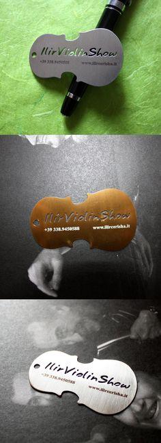 Violin Metal Cut Business Cards repinned by www.BlickeDeeler.de...interesting business card idea...