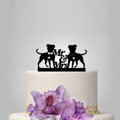 pitbull silhouette wedding cake topper mr and mrs cake topper
