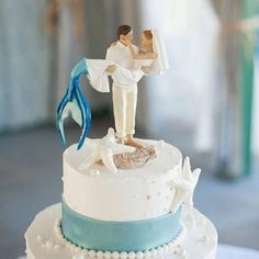 Mermaid wedding cake topper for beach weddings