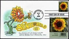 Sunflowers!  Is this not an incredible envelope?   The illustration is called a 'cachet' and it was created by artist Dave Bennett for his USPS First Day Cover (FDC) envelope .  Dave has a treasury of delightful cachets that I'm discovering on the web.    I pinned this from Lloyd A. de Vries' Virtual Stamp Club site at http://www.virtualstampclub.com/  and you can find Dave over on Twitter at @bennettoons