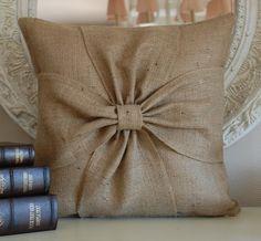 Burlap pillow with bows