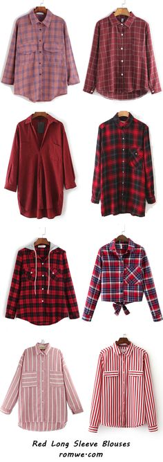 Cool Red Long Sleeve Blouses from romwe.com