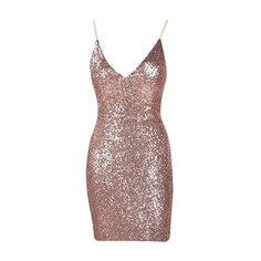 24K Magic Rose Gold Sequin Spaghetti Strap V Neck Bow Back Mini Dress (5.840 RUB) ❤ liked on Polyvore featuring dresses, short sequin cocktail dresses, v-neck sequin dresses, v neck cocktail dress, mini dress and sequined dress
