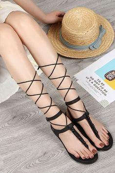 00b7fbe92 Women Black Lace Up Bead Thong Flat Gladiator Sandals - 6