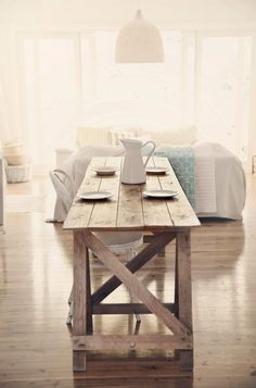 Treasure Hunting Beach Cottage Farmhouse Table for Coastal Vintage Style | abeachcottage.com