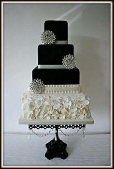 white, black and bling wedding cake