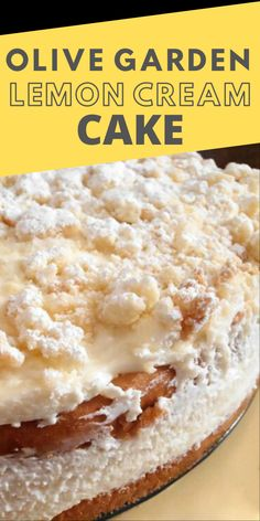 Olive Garden Lemon Cream Cake Copycat Recipe - My family tried out a recipe for an Olive Garden Lemon Cream Cake Copycat. The verdict was it was v - Köstliche Desserts, Lemon Desserts, Lemon Recipes, Copycat Recipes, Sweet Recipes, Baking Recipes, Delicious Desserts, Angel Food Cake Desserts, Lemon Cakes