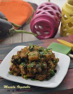 Masala Vegetable in A Microwave,  Baingan Potato and Green Peas Sabzi