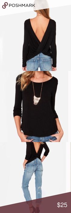 """Open Back Top Gorgeous open back shirt in black!! Will Look Stunning paired with your favorite jeans and heels for a night out! Measures 22"""" in length. Available in S,M,L let me know what size you would like and I'll make you a seperate listingDiscounts on a Bundle Tops Blouses"""