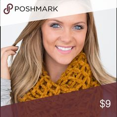 Lattice Knit Infinity Scarf- Mustard Great for layering! Accessories Scarves & Wraps