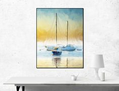 BOATS Print, Blue and Brown Wall Art, SEASCAPE Print, Artistic print, Ships Painting, Home decor, Office decor, Instant Download, Ship print by ThePrintsYouWant on Etsy Ship Paintings, Brown Walls, Beautiful Gifts, Printable Art, Printables, House Painting, Decoration, Les Oeuvres, Office Decor