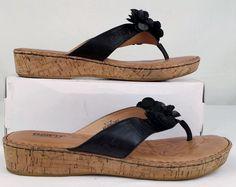 BORN Women's Black Leather Cork FLIP FLOPS 11 medium EXCELLENT USED #born #WedgeFlipFlops