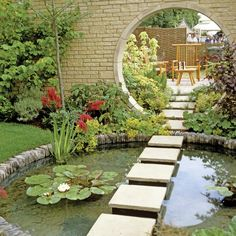Asian inspired design. I will never have the simplicity of design, but I do enjoy and admire these tranquil gardens. Like the repeat of the circular shape.