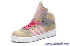 Authentic Girl's Adidas X Jeremy Scott Big Tongue Shoes Pink Yellow For Wholesale