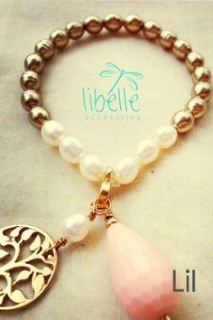 Bracelet gold & white pearls - Perlas