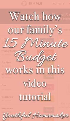 Our family's 15 minute budget with a digital cash envelope system.