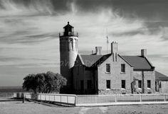 Old Mac Fine Art photography  8X10 B IN STOCK Lake Huron Michigan beacon lighthouse. $25.00, via Etsy.