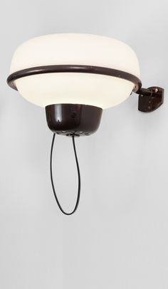 Gino Sarfatti; #228 Enameled Aluminum and Glass Wall Light for Arteluce, 1957.