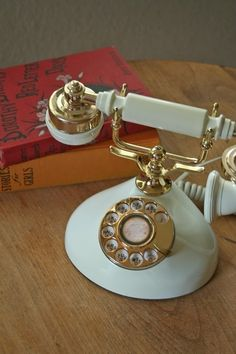 vintage princess phone off white and gold tone
