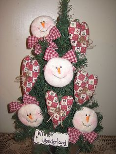 christmas fabric snowmen & heart ornaments