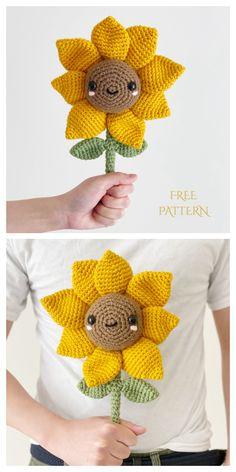 Sunflower Bouquet Free Crochet Patterns - DIY Magazine Crochet Flower Patterns, Crochet Patterns Amigurumi, Crochet Blanket Patterns, Crochet Flowers, Crochet Stitches, Knitting Patterns, Ravelry Free Crochet Patterns, Crochet Ideas, Crochet Sunflower