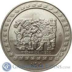 1993 5 oz Mexican Silver 10,000 Pesos - Piedra de Tizoc http://www.gainesvillecoins.com/