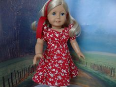 1940's red princess seam dress for American by ValorieoftheDolls