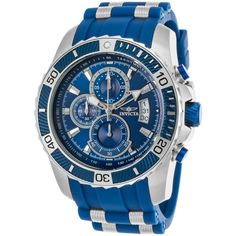Invicta Men's Pro Diver Chronograph Blue Polyurethane & Dial (2,470 MXN) ❤ liked on Polyvore featuring men's fashion, men's jewelry, men's watches, blue, watches, mens sports watches, mens watches, invicta mens watches, men's blue dial watches and mens diamond bezel watches