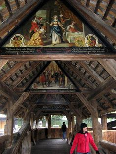 """Chapel Bridge"" in Lucerne, Switzerland --- Loved seeing the detailed work and character of this historical bridge in person with Cheryl.  (We walked across it several times together.)"