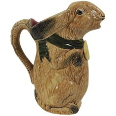 French Majolica Rabbit Pitcher, circa 1900 | From a unique collection of antique and modern pitchers at https://www.1stdibs.com/furniture/dining-entertaining/pitchers/